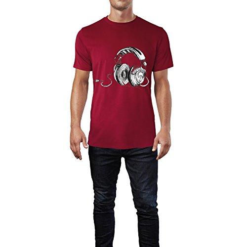 SINUS ART® Kopfhörer Zeichnung Herren T-Shirts in Independence Rot Fun Shirt mit tollen Aufdruck