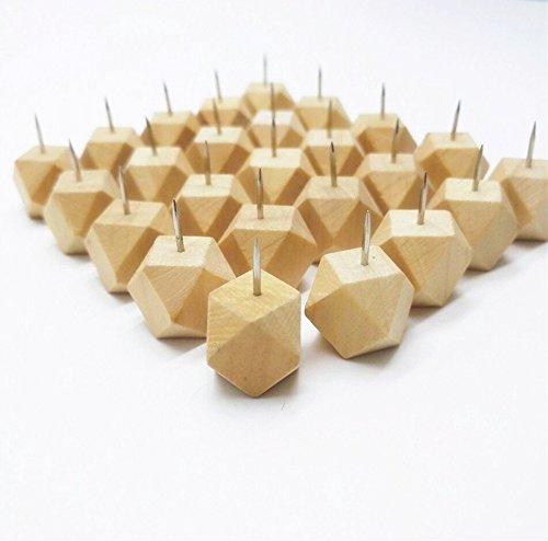 Devis Box of 25 Pcs Geometric Wood Push Pins or Thumb Tacks Decorative Novelty Style,Push Pins for Map,Photos and Calendar