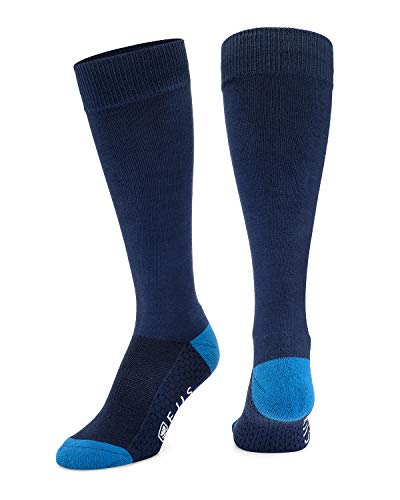 Ejis Dress Socks for Men with Anti-Odor Silver (Navy/Blue, Single Pack)