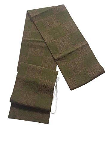 不毛一方、反対するリサイクル 袋帯  ふくれ織 市松に装飾文様 正絹