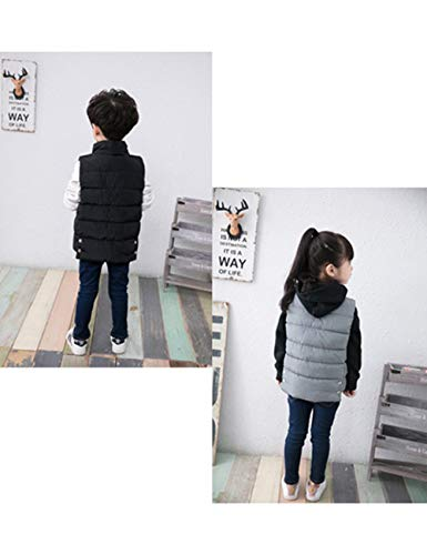 Kids Children Casual Outdoor Vests Sleeveless Overcoat Down Vest Coat Button Wear Black Jacket BESBOMIG for Autumn Winter TIqdST
