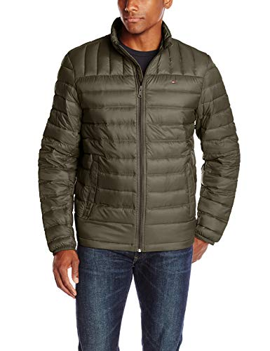 Tommy Hilfiger Men's Packable Down Jacket (Regular and Big & Tall Sizes), Olive, Small