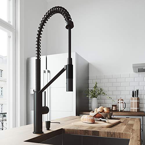 VIGO Livingston Matte Black Kitchen Faucet with Soap Dispenser California Faucets Stainless Steel Soap Dish