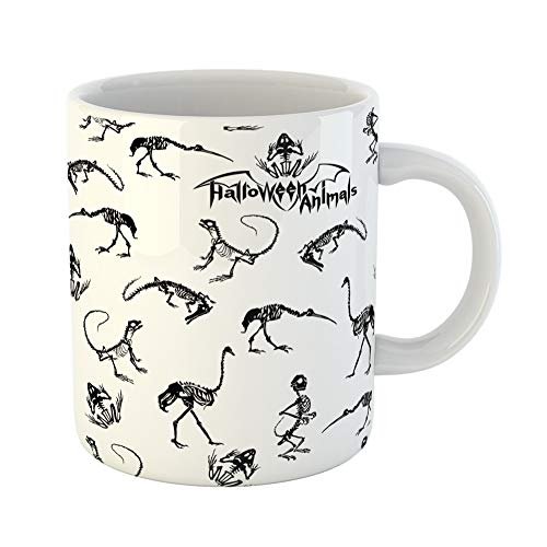 Emvency Coffee Tea Mug Gift 11 Ounces Funny Ceramic Halloween Animals Black Skeletons of Reptiles Crocodiles Lizards Frogs Monkeys Gifts For Family Friends Coworkers Boss Mug ()
