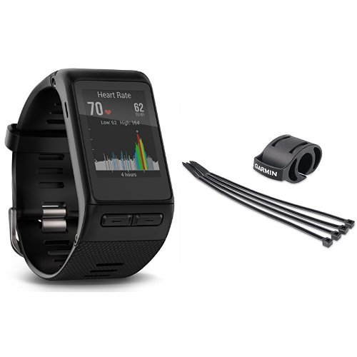 Garmin vívoactive HR GPS Smart Watch, XL fit - Black and Forerunner Bicycle Mount Kit by Garmin