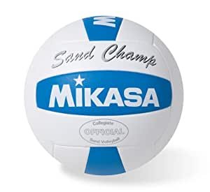 Mikasa FIVB Approved Collegiate Sand Champ Volleyball (White/Blue, Official)