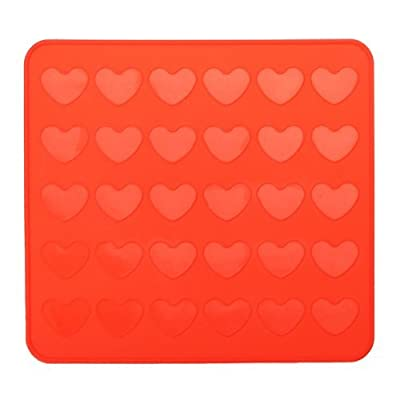 AUCH Silicone DIY 30-Capacity Heart Macarons Sheet Mat Chocolate Cookie Cake Baking Mold Small Pastry Molds