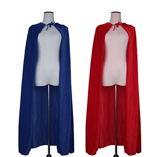 Prettyia 2pcs Vintage Adult Unisex Velvet Hooded Cape Halloween Devil Cloak Medieval Witchcraft Costume Cospaly Party Accessory
