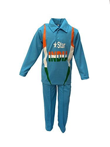 Fancy Dress Costumes India (India Cricket Team Fancy Dress For Kids National Hero Costume For Independence Day/Republic Day/Annual Function/Theme Party/Competition/Stage Shows Dress)