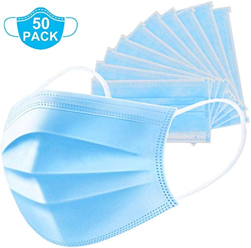 Jimall 50 Pack Disposable Face 3-layer Breathable Filter for Home Office, Blue