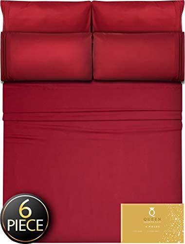 6 Piece Queen Sheets Bed Sheets Queen Size - Sheets Queen Size Sheets Queen Bed Sheets Queen Sheet Set Queen Size 6 Piece Deep Pocket Queen Sheets Microfiber Sheets Queen Bedding Sets Sheet Burgundy (Red Queen Sheets)