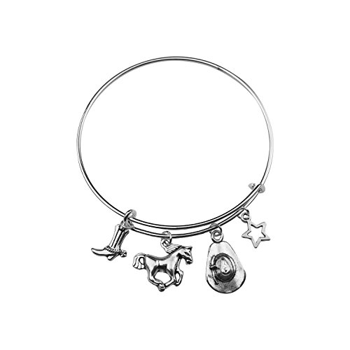 Texas Star Boot (Art Attack Silvertone Cowgirl Cowboy Boots Horse Star Galaxy Texas Equestrian Expandable Charm)