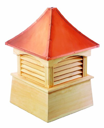 Good Directions Coventry Louvered Cupola with Pure Copper Roof, Cypress Wood, 22