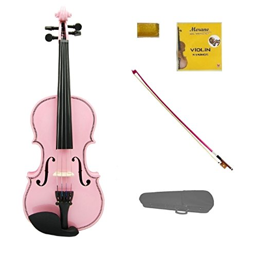 Merano 1/10 Size Pink Violin with Pink Bow, Case, Free Rosin and Extra Set of Strings for Beginners, Students, Gifts, Toys