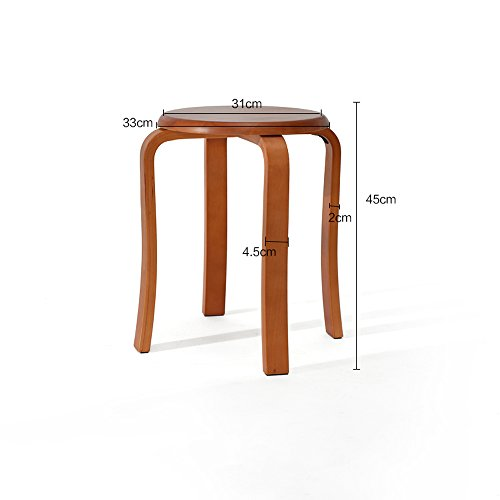 Solid wood stools, creative dining stools, fashion benches, home table and stools, low stools, round stools, multicolor options, easy installation, convenient stacking, D: 31cm, H: 45cm (Color : B) by PM-Stools (Image #1)