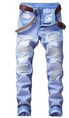 Blau Cotone Moderna Marea Degli Cowboy Sottili Pantaloni Ssig Uomini Casual Diritti Dei Marchio Cher Jeans Locomotiva D'avanguardia Denim Nlichkeit Fori 6qH5p0w0