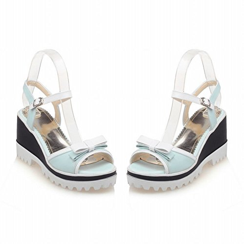 Carolbar Womens Buckle Bows Peep Toe Sweet Dress Assorted Colors Platform Wedges Sandals Blue hTjwfQmsL