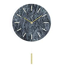 Marble Metal Wall Clock Mute Retro Modern Round Hanging Restaurant Bedroom Elegant Black Minimalist Decoration Fashion Bedroom Environmental Protection,Black