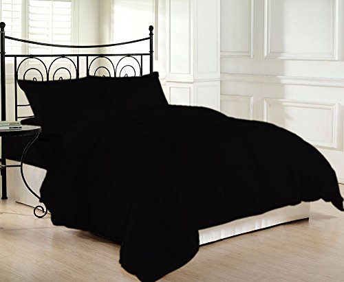 Space Cotton Egyptian Living - 1200 Thread Count Luxurious and Cozy 100% Egyptian Cotton Comforter Black Queen By Kotton Culture Solid (Cocoon Feel 300 GSM Appropriate for Winters Microfibre filling)