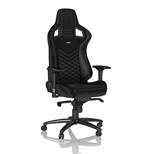 noblechairs Epic Gaming Chair - Office Chair - Desk Chair - PU Faux Leather - 265 lbs - 135° Reclinable - Lumbar Support Cushion - Racing Seat Design - Black/Gold ()