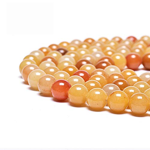 Asingeloo Natural Yellow Aventurine Stone Beads for Jewelry Making Round Loose Spacer Beads 8mm Gemstones 15