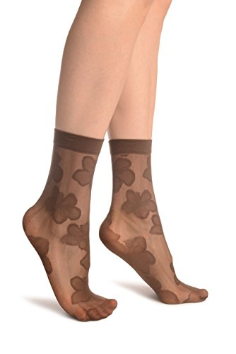 Brown Flower & Stripes Ankle High Socks - Socks ()
