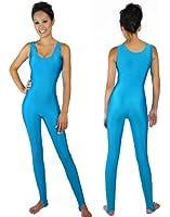 NawtyFox Adult Barbie Workout Turquoise Sleeveless Unitard Bodysuit Costume