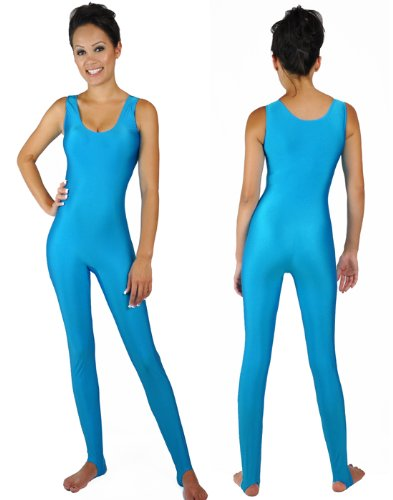 Of Barbie Costumes Types (NawtyFox Adult Barbie Workout Turquoise Sleeveless Unitard Bodysuit)