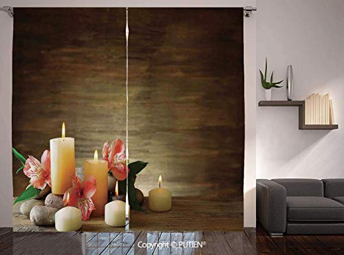 - Thermal Insulated Blackout Window Curtain [ Spa Decor,Spa Composition with Many Candles Wellbeing Unity and Neutrality Icons Calm Happiness Home Decor,Multi ] for Living Room Bedroom Dorm Room Classro
