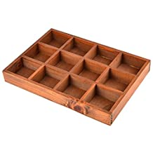 Drawer Tray, Yamix 12-Slot Wooden Drawer Dividers Storage Divider Box Desk Drawer Organizer Tray Jewelry Tray for Crafts,Plants, Jewelry