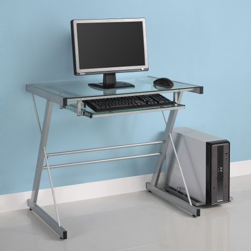 Glass Metal Silver Computer Desk (Desk Silver Computer)