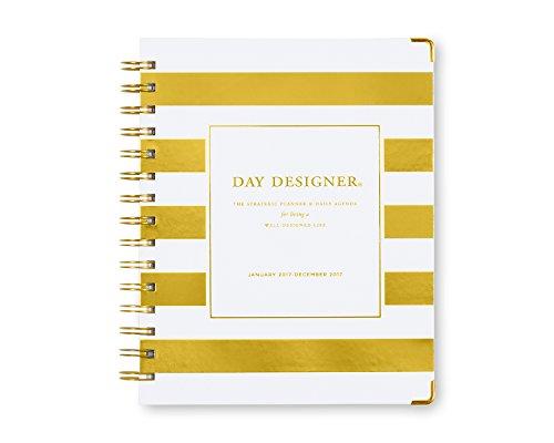 "Day Designer for Blue Sky ""Gold Stripe"" 6 x 8 Weekly/Monthly Planner, Jan 2017 - Dec 2017"