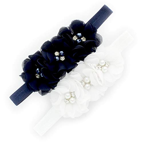 (My Lello Girls Flower Headbands Toddler Fabric Beaded Trio Stretchy Elastic Pair (Navy/White))