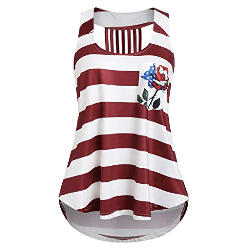 AgrinTol_Tank Tops,Fashion Women Stripe America Flag Printed O-Neck Sleeveless Tank Up Blouse Red -