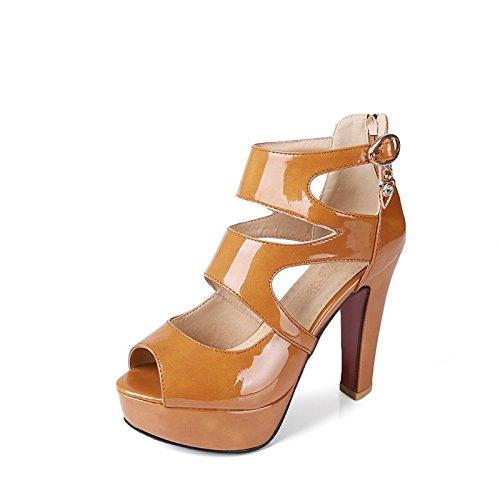 ZHZNVX Zapatos de mujer moda Primavera Verano Botas de cuero sandalias Chunky talón peep toe botines/Botines hebilla de strass for casual Coffee