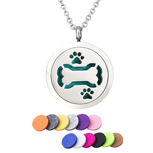 GIONO Pet Paw Aromatherapy Essential Oil Diffuser Necklace Bone Fragrance Necklace Perfume Necklace Diffuser Pendant Locket