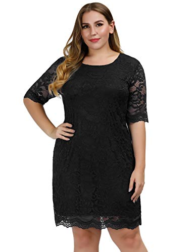 - Hanna Nikole Womens Stretch Floral Lace Short Sleeve Party Shift Dress Black 16W