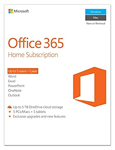 Microsoft Office 365 Home 1-year subscription, 5 users, PC/Mac Key Card (Office Small Business Premium)