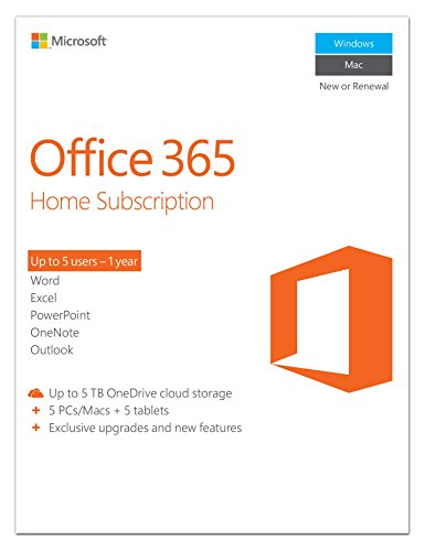 Software : Microsoft Office 365 Home 1-year subscription, 5 users, PC/Mac Key Card