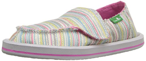 Sanuk Kids Donna Girls-K Sidewalk Surfer (Toddler/Little Kid), Aqua/Pink Stripe, 8 M US Toddler -