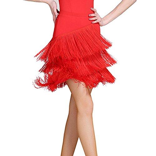 Irregolare Ghiaccio JIU Gonna Colore Donna Danza Seta Latino Red Semplice S Nappa Abito Puro Gonna Q dwqvXvF