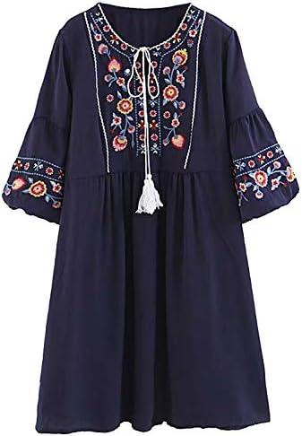 Doballa Mujeres Bohemia Bordado Floral de la túnica de la Blusa Tasseled Mexicana Campesino Shift Mini Vestido: Amazon.es: Ropa y accesorios