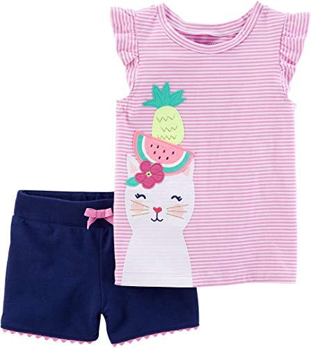 (Carters Baby Girls Tropical Kitty Shorts Set 6 Months Pink/Blue/White)