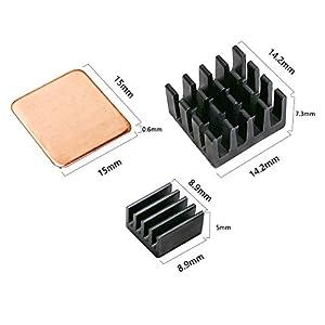 Lanpu 30 PCS Raspberry Pi Heatsink Kit Copper Raspberry Pi Aluminum Heatsink for cooling cooler Raspberry Pi 3, Pi 2, Pi Model B+