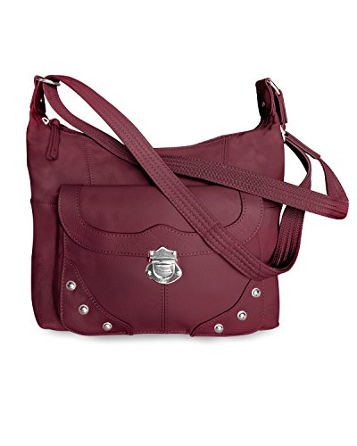 Concealed Carry Purse - Front Studded Pocket Leather Gun Purse - Left & Righthand Draw - CCW - by Roma Leathers (Wine)