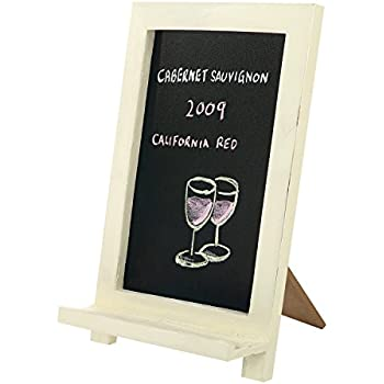 Mini Freestanding Wood Framed Erasable Chalkboard Sign, Tabletop Easel Memo  Board, White