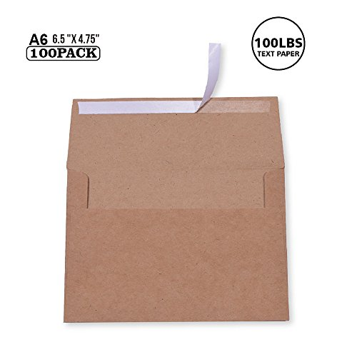 100 Pack, Brown Kraft Paper 4 x 6 Envelopes A6 - For 4x6 Cards  Self Seal  Perfect for Weddings, Invitations, Baby Shower, Handmade ,Stationery For General, Office   6.5 x 4.75 Inches (A6) by WAN