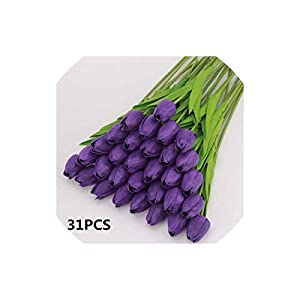 Artificial Tulips Tulip 11/31Pcs Decorative Flower Wedding Real Touch Pu Bride Bouquet for Home Decoration,Purple-31 50
