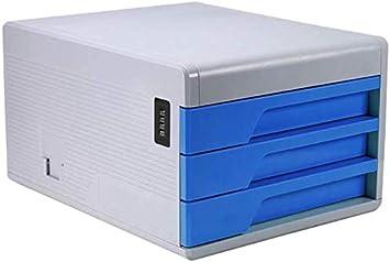 GBX Oficina Estante para Almacenar Documentos, Archivos de Escritorio Caja de Plástico con la Cerradura Del Cajón Del Gabinete de Datos Simple Oficina de la Función Multi-Gabinete,Durk Azul: Amazon.es: Bricolaje y herramientas