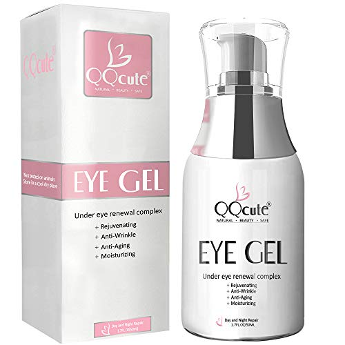 (Eye Gel Cream, QQcute Day & Night Repair Eye Treatment Cream Anti Aging Complexes to Reduce Dark Circles, Puffiness, Under Eye Bags, Wrinkles & Fine Lines, Eye Moisturizer for Men & Women - 1.7 fl oz.)